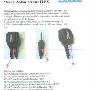 Zodiac hodesett vanntett m/ørebøyle og PTT spiral dobbeltplugg vinkel (B) easyHunt / Neo