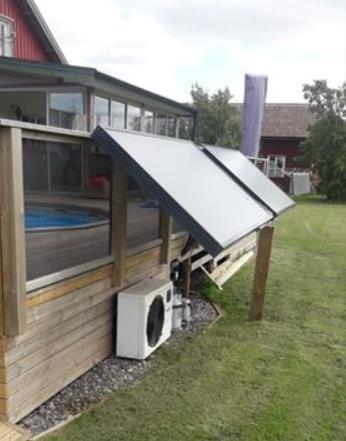 Poolsolfångare  för mindre pool, ger ca 4-5kW toppeffekt