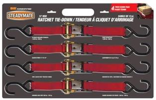 Steadymate 12' Ratchet Buckle Strap - Pack of 4