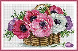 Broderi korssting, Kurv m/blomster (H798)