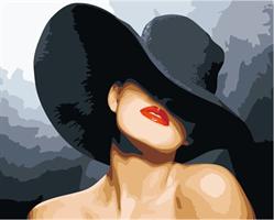 Mal eller nummer, Dame m/sort hatt 50*40cm