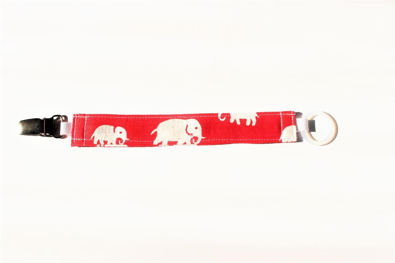 Napphållare rött tyg med elefanter
