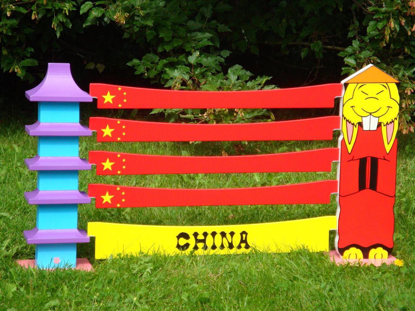 Kina enkel, hus med röd kines