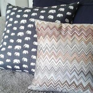 Kuddfodral grå Elefanter Lin dubbel 50x50