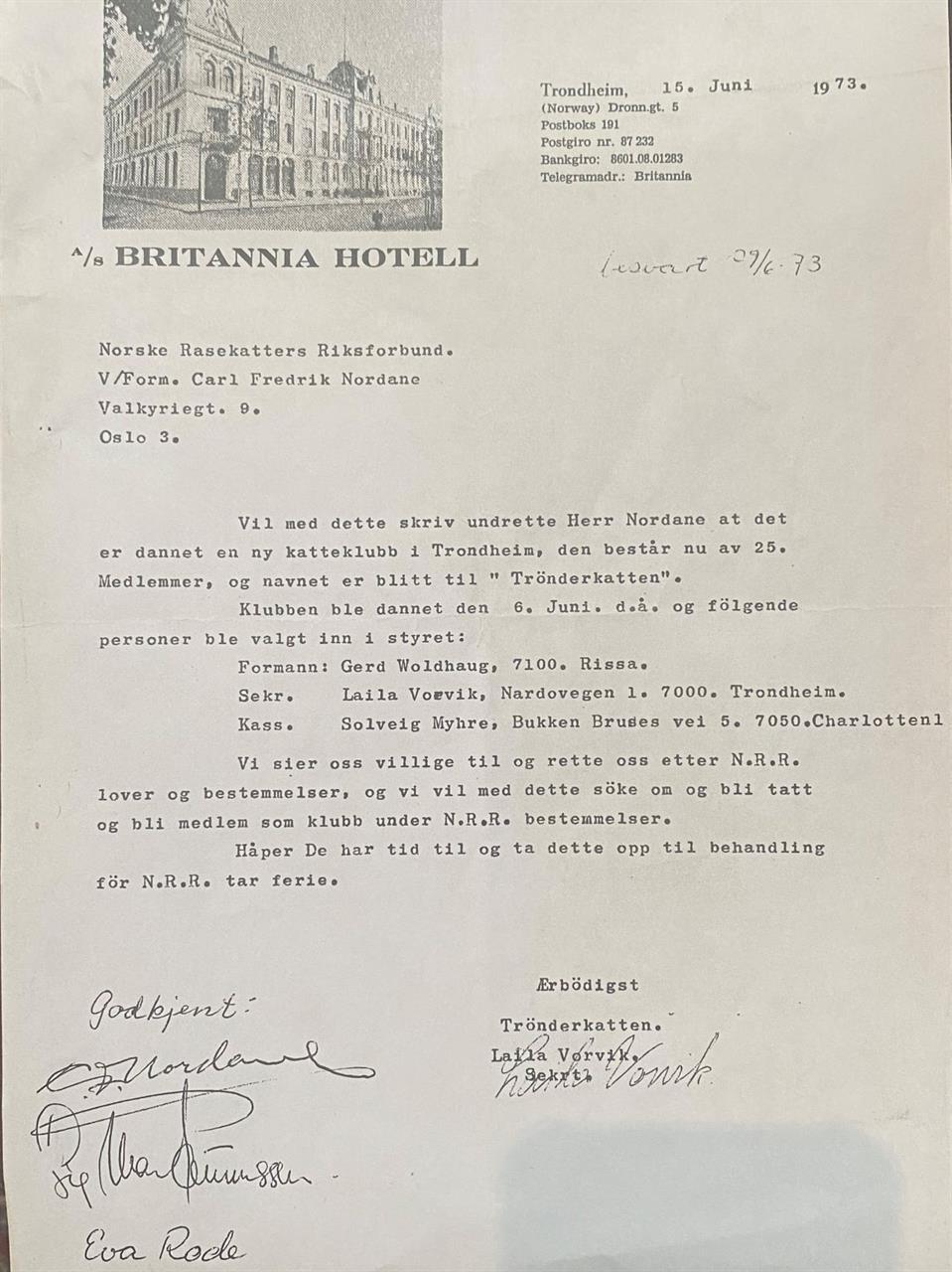 Trønderkatten blir godkjent som klubb i NRR 29.06.1973