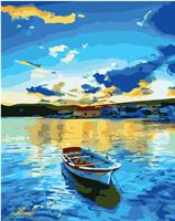 Mal eller nummer, Båt på rolig hav 40*50cm (YC2332)
