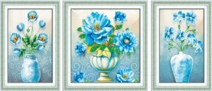 Diamond Painting, 3-delt Blomster i krukke 134*52cm (H0625) DPR