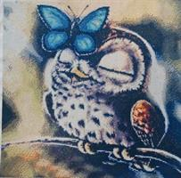 Diamond Painting, Ugle m/sommerfugl 40*40cm FPR