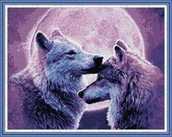 Diamond Painting, Ulver i måneskinn 51,5*41,4cm FPK