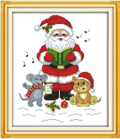 Korsttingsbroderi, Syngende julenisse med katt og mus 31*36cm (C041)
