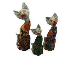Bali - Set 3 katter i trä & tyg (6 pack)