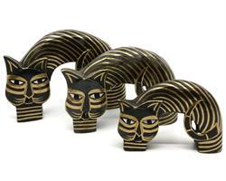 Bali - Set 3 katter guld/svart (12 pack)