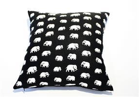 Kuddfodral svart Elefant Lin 40x40 Enkelsidig
