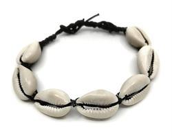 Knytarmband - Cowry svart (12 pack)