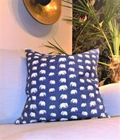 Kuddfodral Stormblå med elefanter 40x40 enkel
