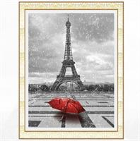 Diamond Painting, Eiffeltårn m/paraply kvadrat 40*50cm (H140) FPK