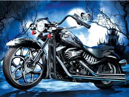 Diamond Painting, Motorsykkel i måneskinn 40*30cm GLITTER
