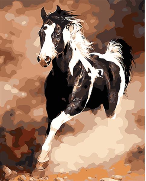 Mal eller nummer, Hest i støvsky 40*50cm (YC2217)