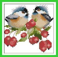 Broderi korssting, 2 Fugler m/kirsebær 24*24cm (D738)