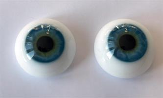 20 mm Caribbean Blue  Platta Lauscha Ögon av Glas