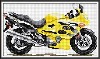 Diamond Painting, Gul motorsykkel 36*23cm FPK