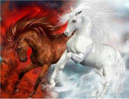 Diamond Painting, Varm og kald hest 50*40cm GLITTER