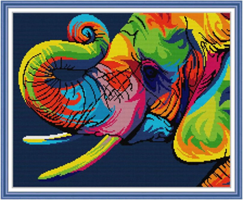 Broderi korssting, Fargerik elefant 56*46cm (DA497)