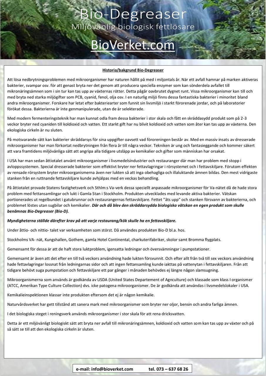 Bio-Degreaser Bakgrund/ Historia, Skriv ut och spara