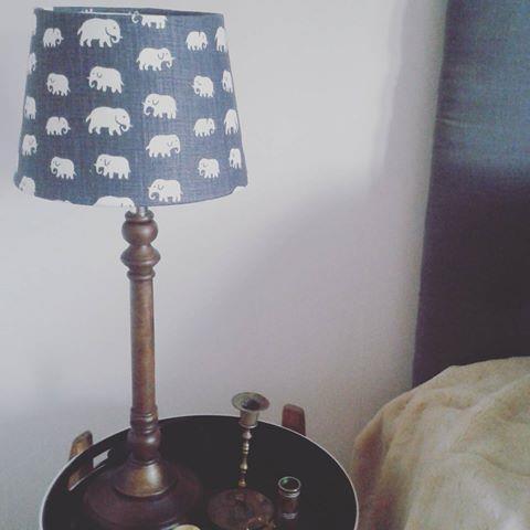 Lampskärm grå elefanter Lin