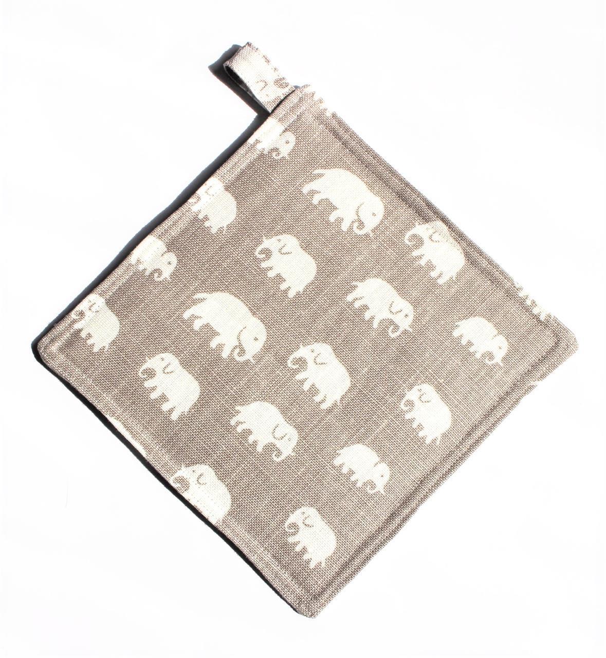 Grytlapp varmgrå med elefanter