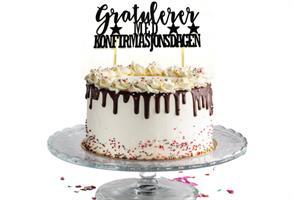 Kaketopper-Gratulerer med Konfirmasjonsdagen Svart
