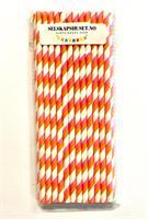 Papirsugerør hvit og oransje stripete
