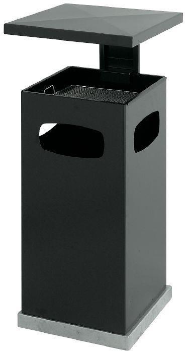 Avfallsbeholder i metall med askebeger ,70l, Grå