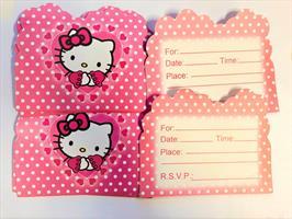 10 stk Invitasjonkort - Hello Kitty