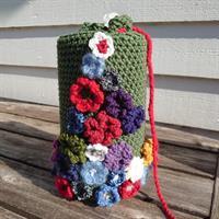 Strikket tørkerull skjulere  - Grønn blomst