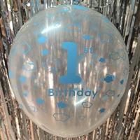 1 Års Bursdag Stor Ballong gjennomsiktig blå farge