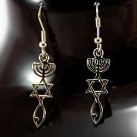 Øredobber - Messiansk symbol - Sølvfarget