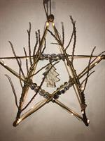 Unik Bambus Stjerne med mini kongler og tre figur