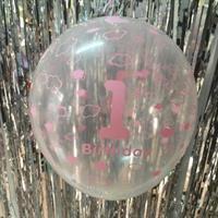 1 Års Bursdag Stor Ballong gjennomsiktig rosa farge