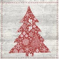 Juleserviett - Juletre Rød