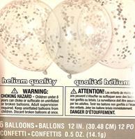 6 stk Grå/Sølv Konfetti ballong