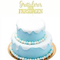 Kaketopper Gratulerer med Farsdagen- Gull