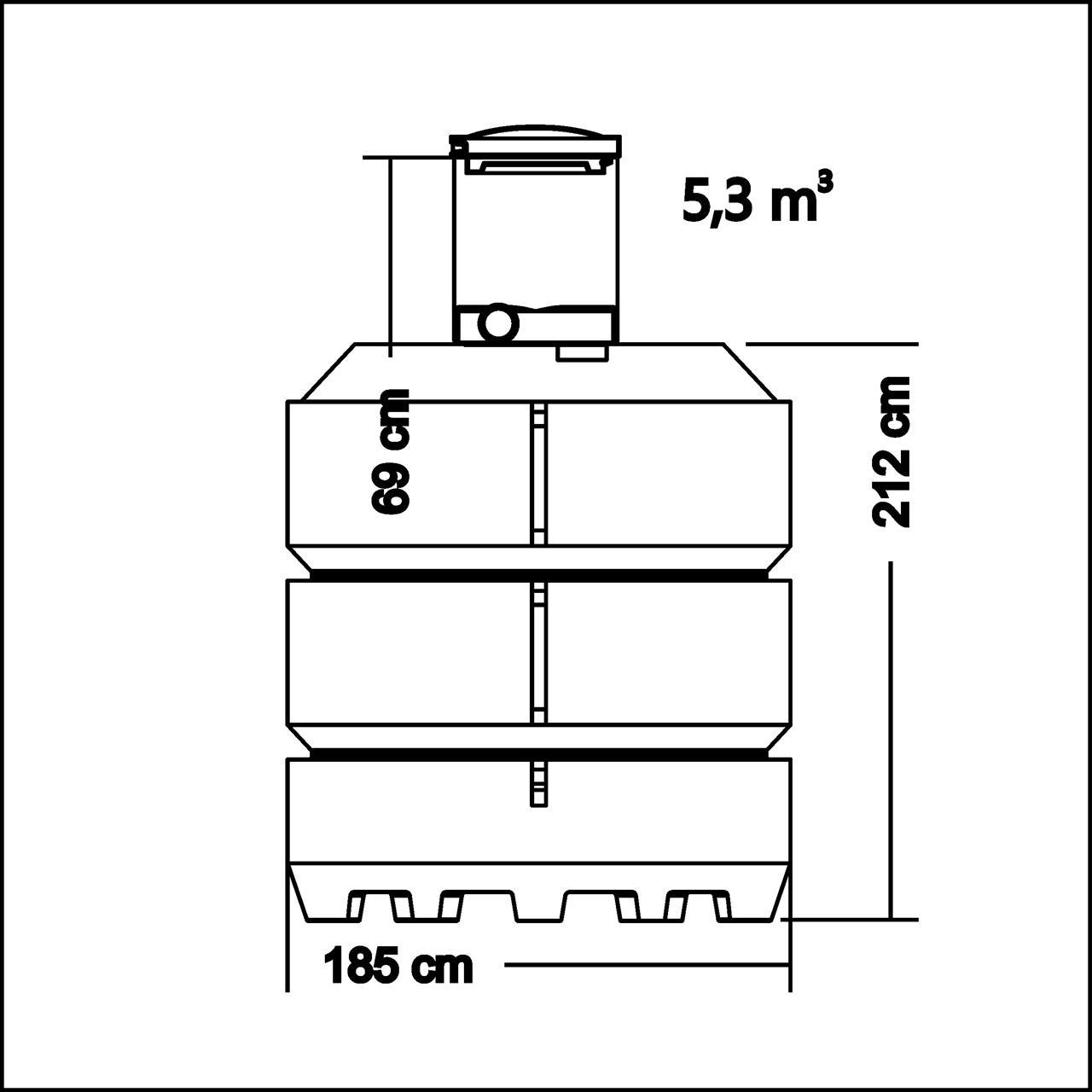 Umpisäiliö 5300 l, (tuloputki kork 2,12m), D600 H690 kuilulla