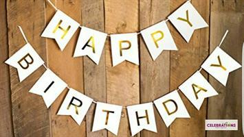 Hvit og gull HAPPY BIRTHDAY vimpler