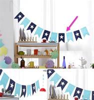 Blå Stjerne med taggekant DIY Flag Banner