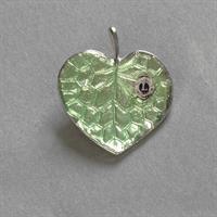 G1343 - Silver green leaf pin