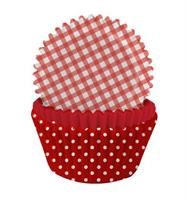 Cupcakeformer -  Rød Ruter og Polkadot mix