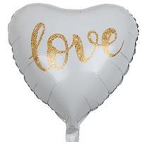 Folie Hjerte Ballong Hvit med LOVE
