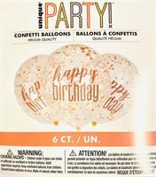 6 stk Lysrosa Konfetti ballong med Happy Birthday tekst