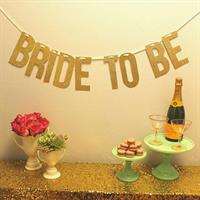 BRIDE TO BE banner i gulll farge
